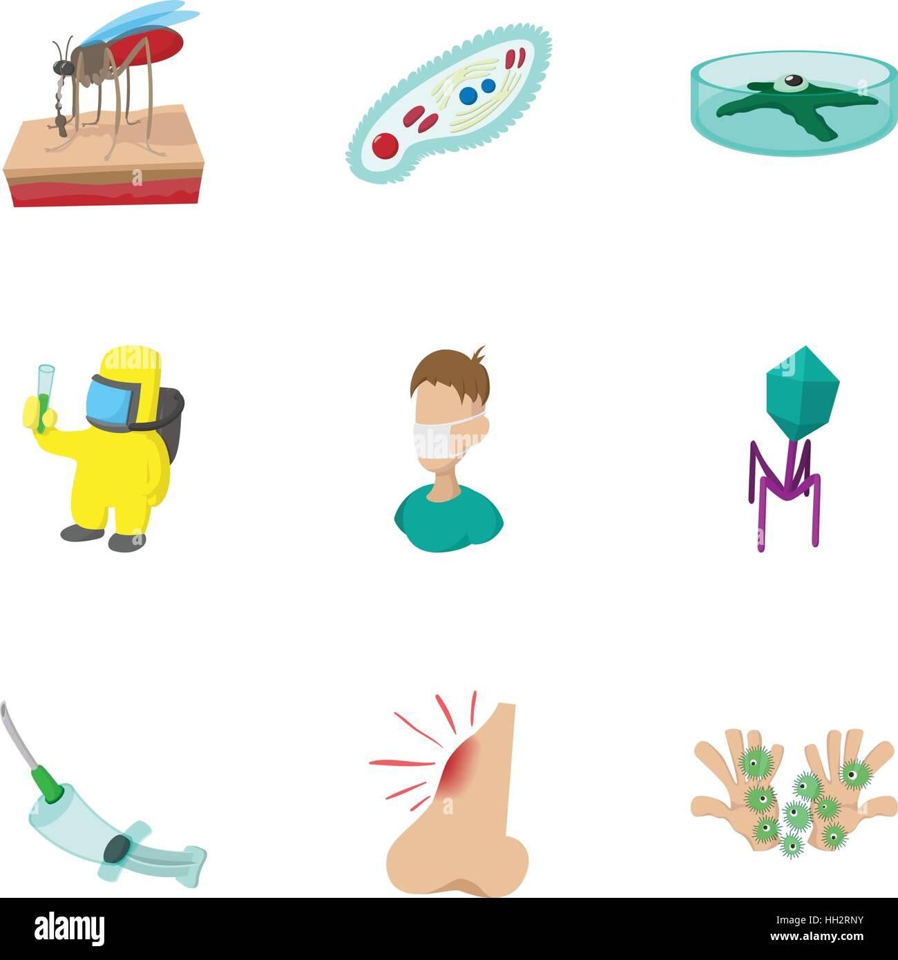 Symptoms of malaria icons set, cartoon style - Stock Image