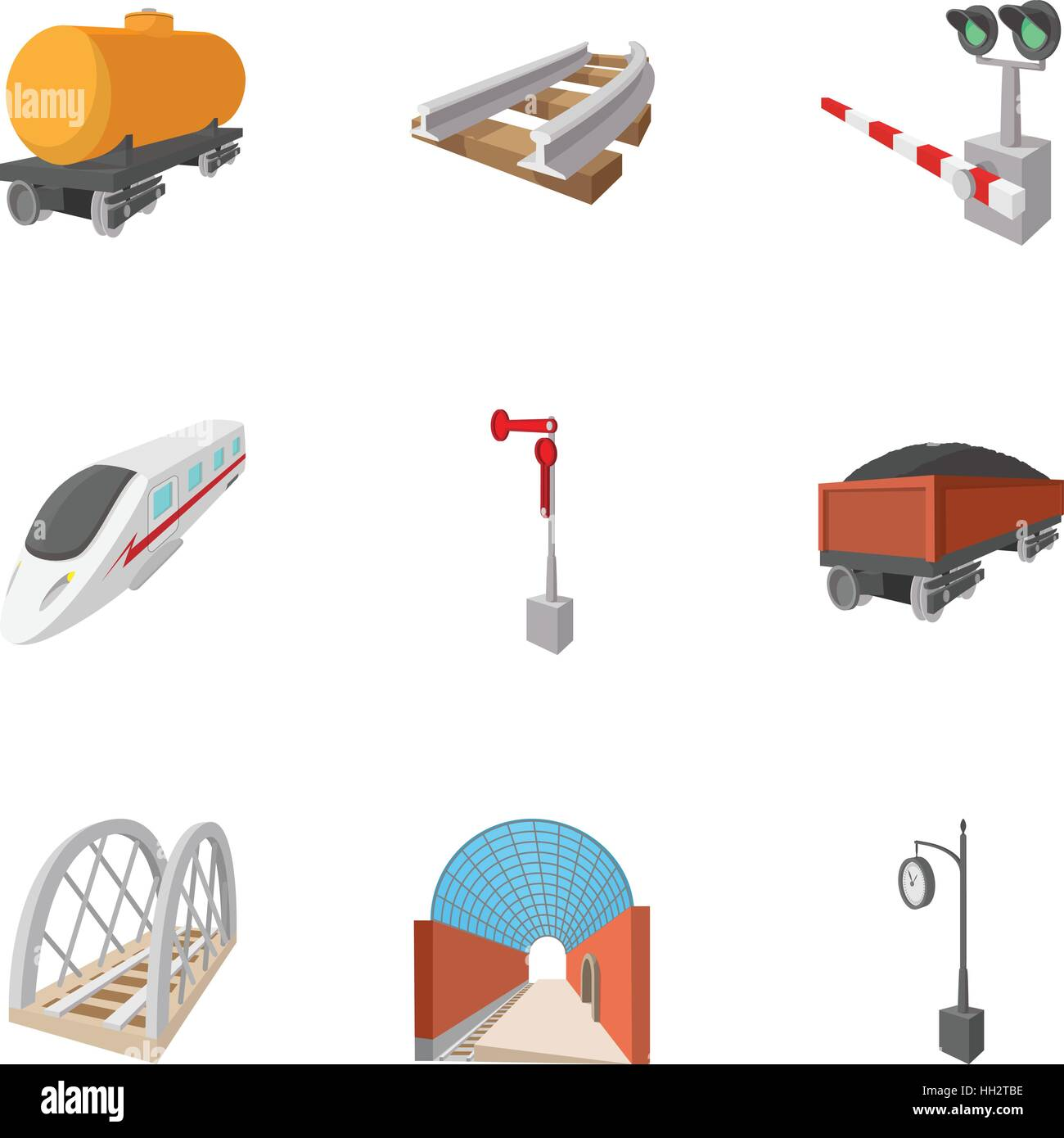Electrical train icons set, cartoon style Stock Vector