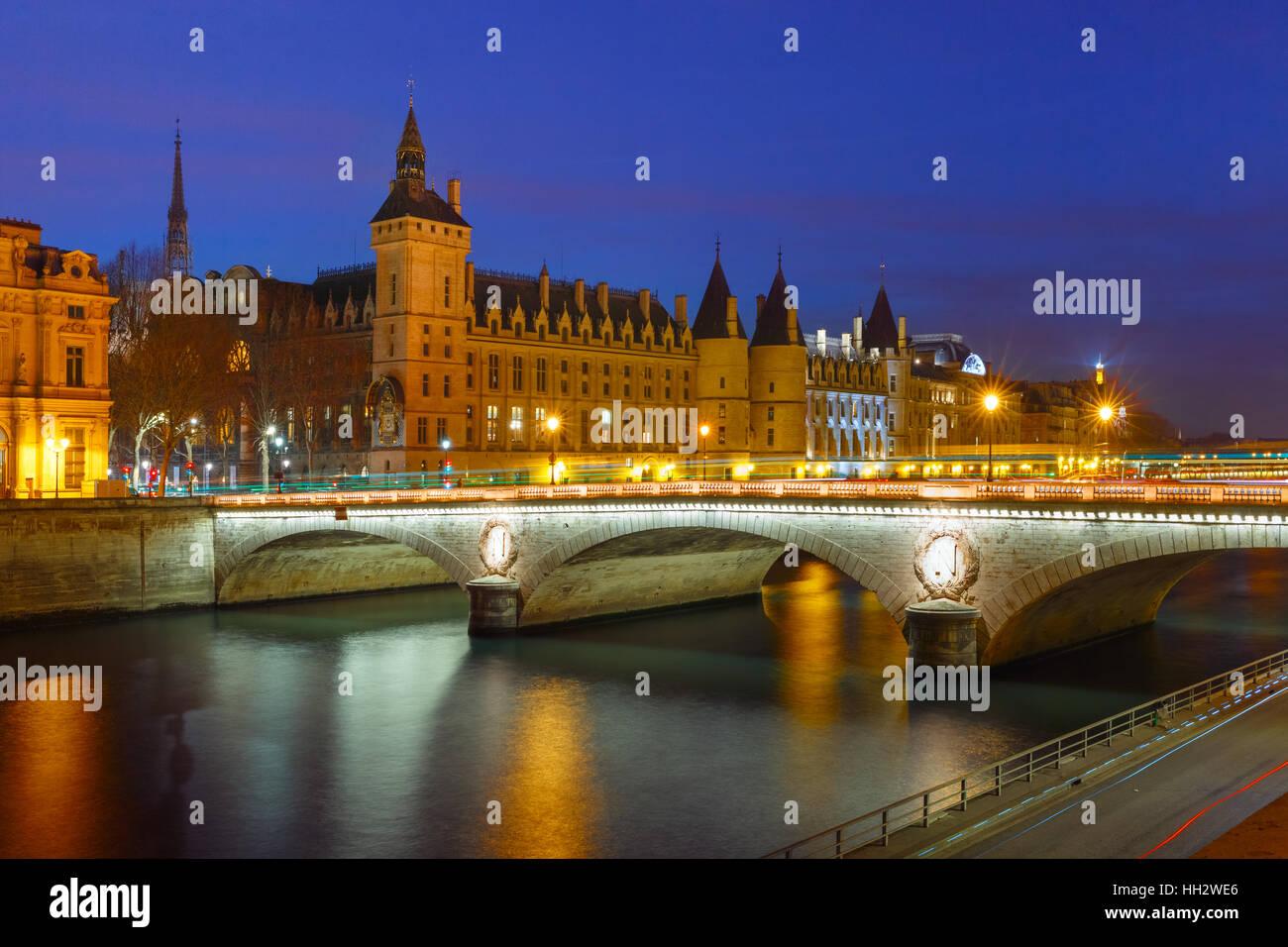 Conciergerie at night, Paris, France - Stock Image