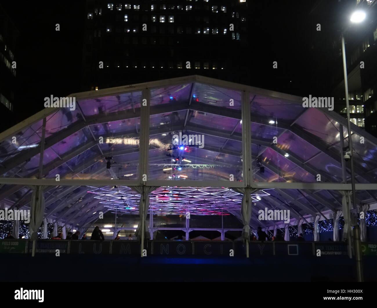 Canary Wharf. London, UK. 15th Jan, 2017. Canary Wharf Winter Lights Festival kicks off in London, UK. Credit: Nastia Stock Photo