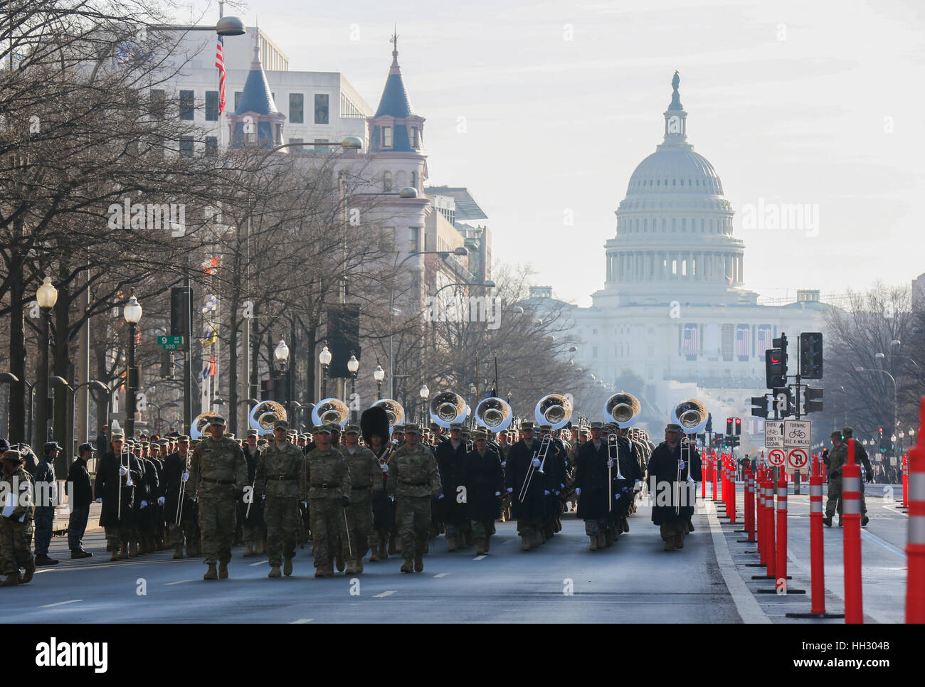 Washington, D.C, USA. 15th January, 2017. Members of the United States Army Staff Element march down Pennsylvania - Stock Image