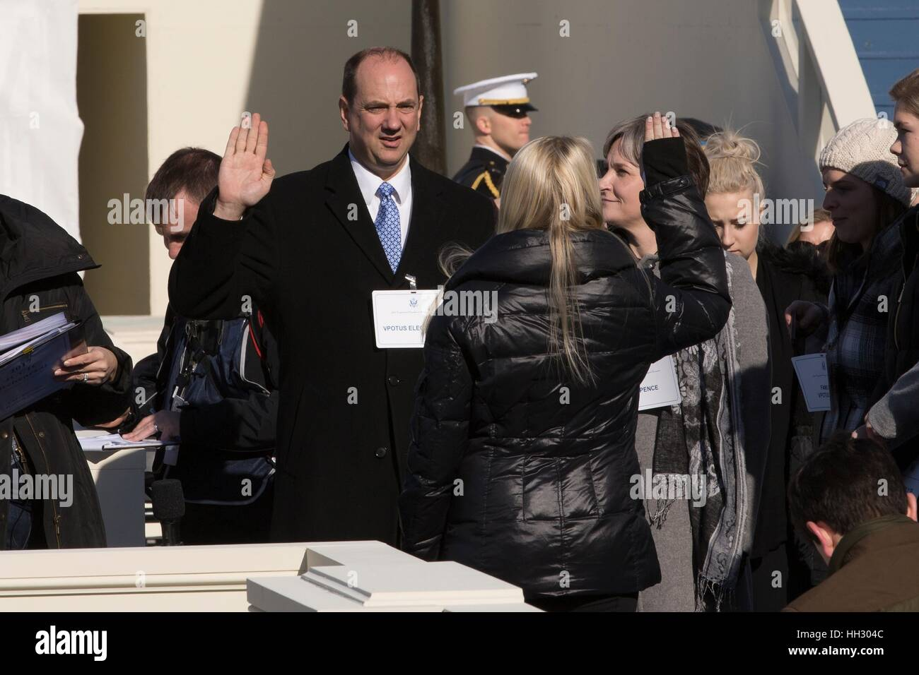 Washington, D.C, USA. 15th January, 2017. The stand-in for Vice President Elect Mike Pence is sworn in during the - Stock Image