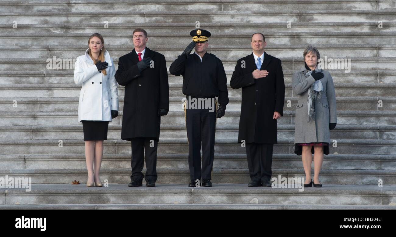 Washington, D.C, USA. 15th January, 2017. The military stand-ins for the President, Vice President and their wives, - Stock Image