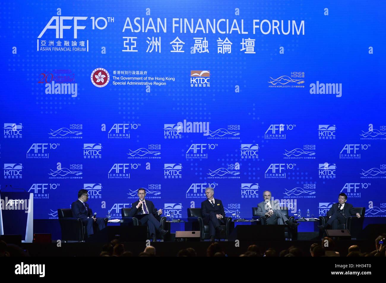 Hong Kong, China. 16th Jan, 2017. Guests attend the 10th Asian Financial Forum in Hong Kong, south China, Jan. 16, Stock Photo
