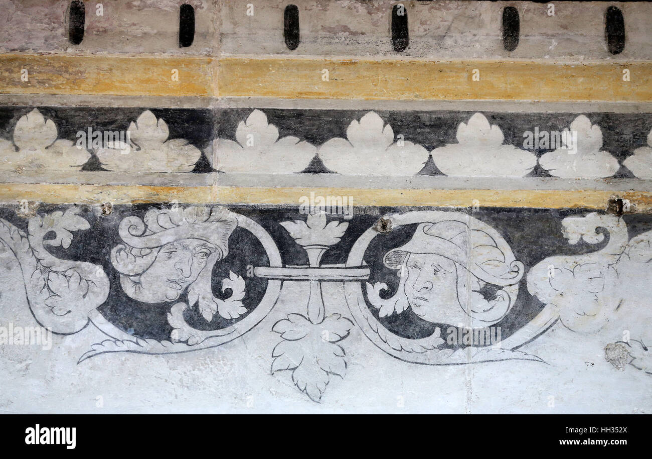 Close-up of a historical Cranach wall painting at Hartenfels castle in Torgau, Germany, 10 January 2017. Photo: Stock Photo
