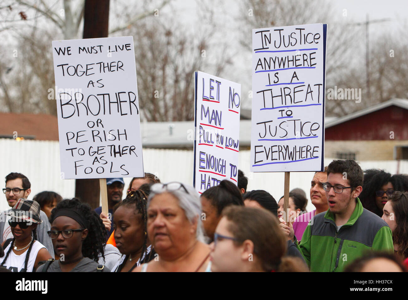 San Antonio Usa 16th January 2017 Marchers Holding Signs During