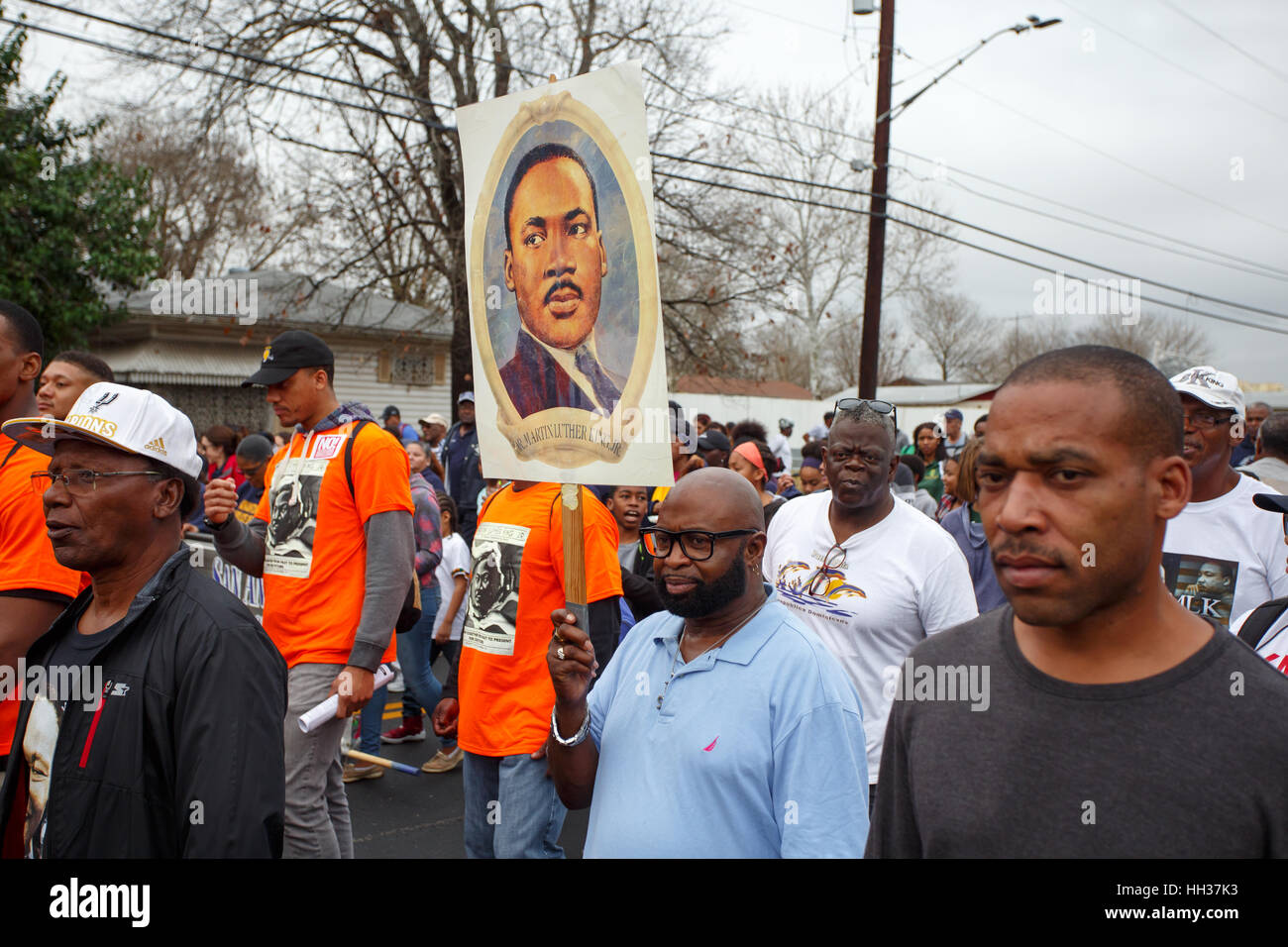San Antonio Usa 16th January 2017 A Marcher Holding An Image Of