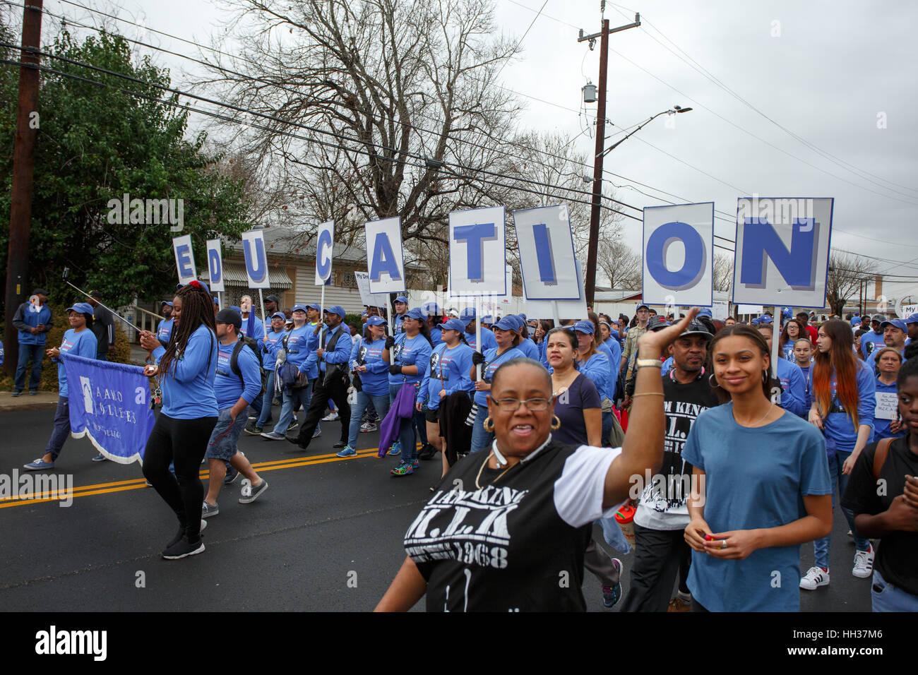 San Antonio Usa 16th January 2017 Marchers Representing The San