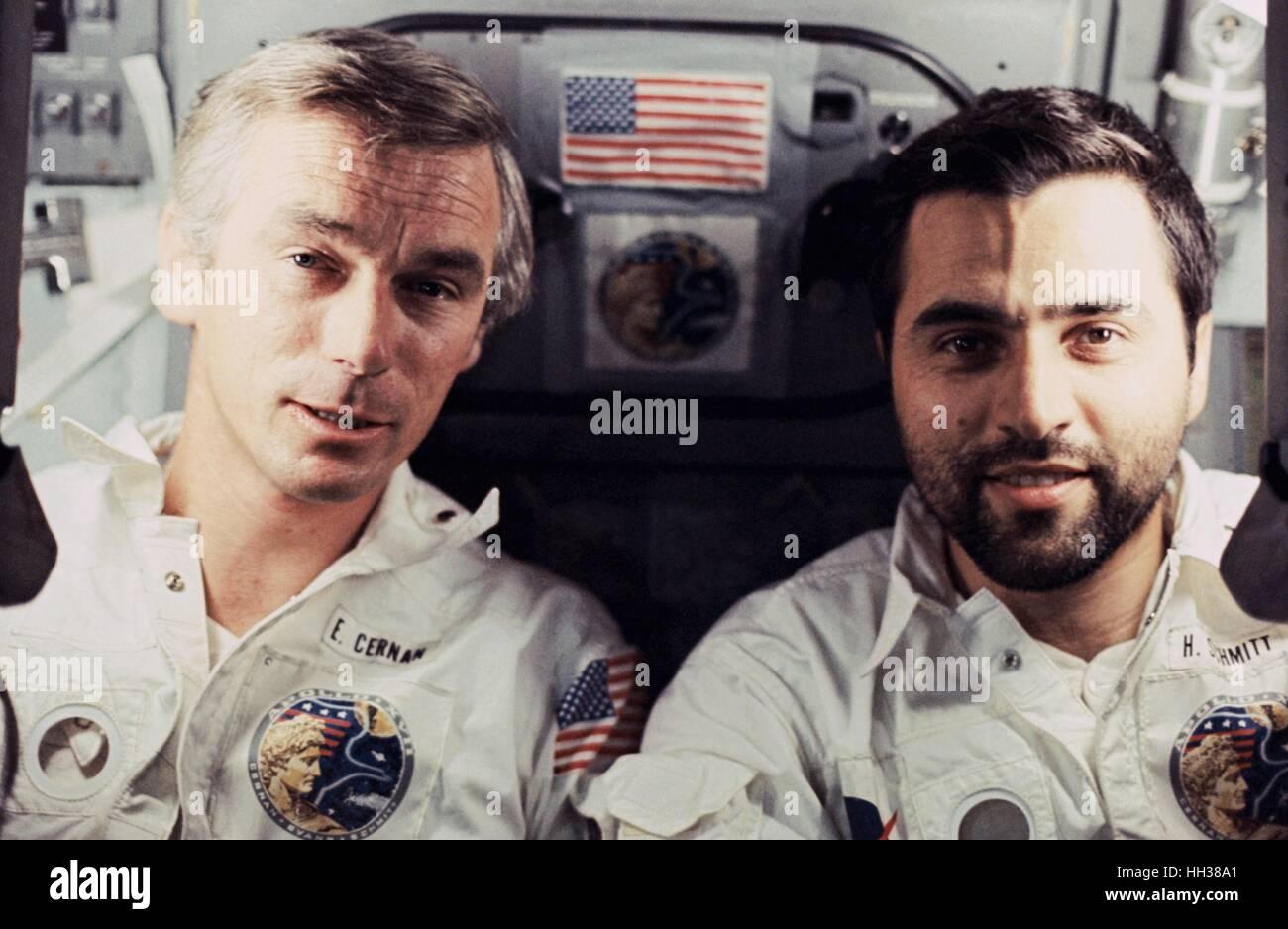 FILE PICS: 16th January 2017. NASA astronaut Eugene A. Cernan (left) and scientist-astronaut Harrison H. 'Jack' - Stock Image