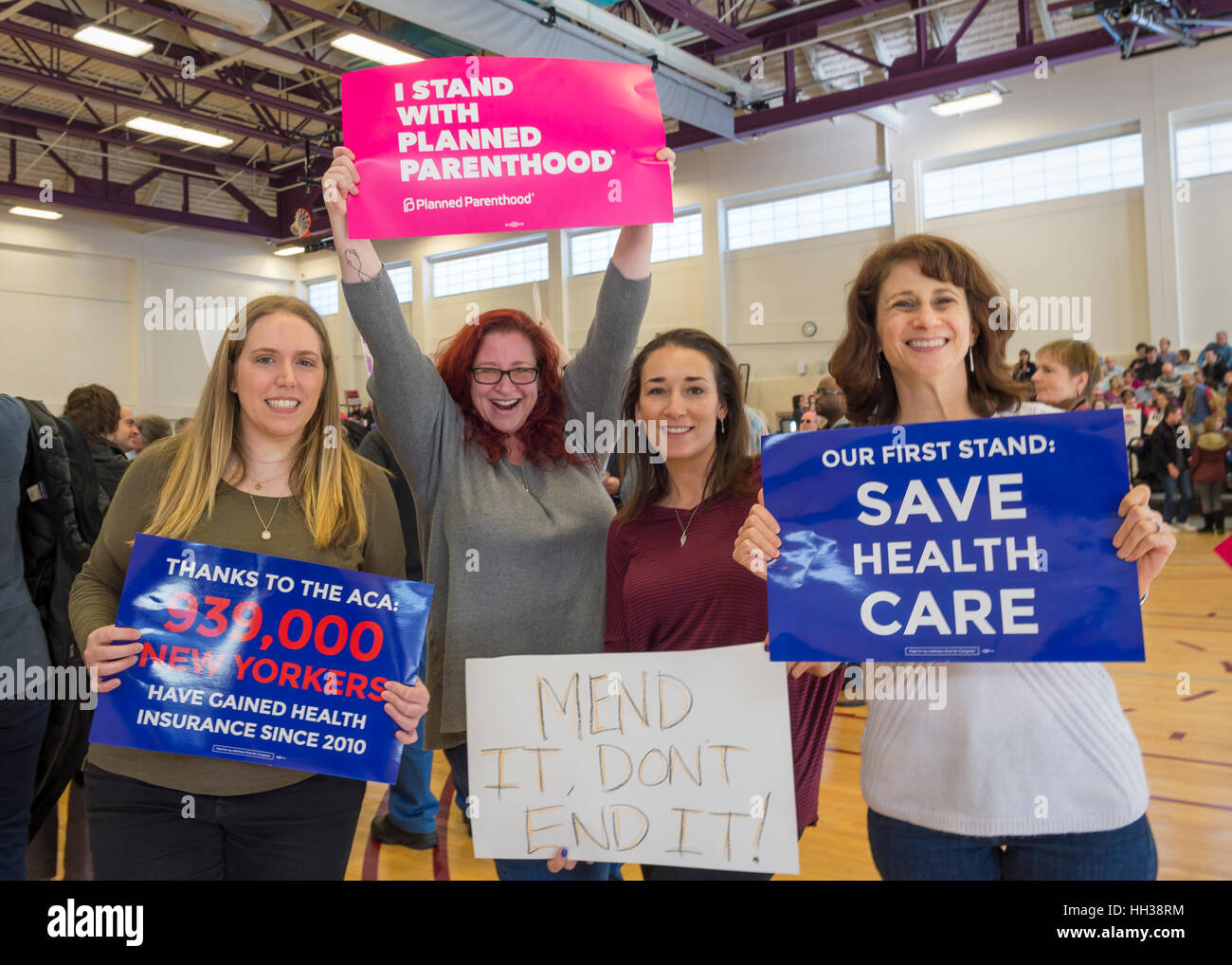 Westbury, USA. January 15, 2017.  L-R, Sue Moller of Merrick, Amy Budd of Bellmore, Stefana Muller of Babylon, and Stock Photo