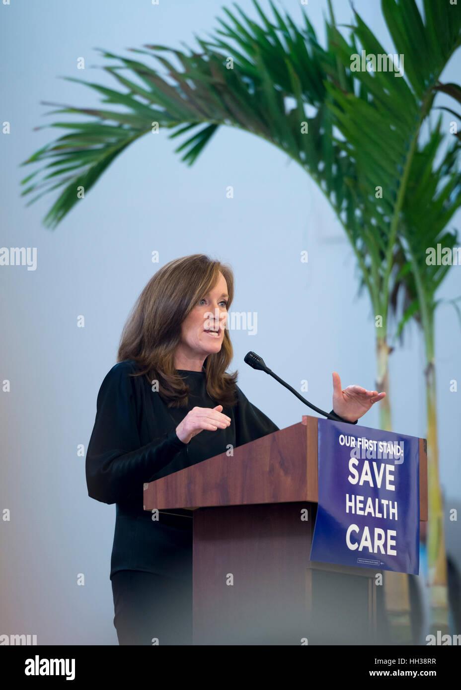 Westbury, USA. January 15, 2017. Representative Kathleen Rice (Democrat - 4th Congressional District) is speaking Stock Photo