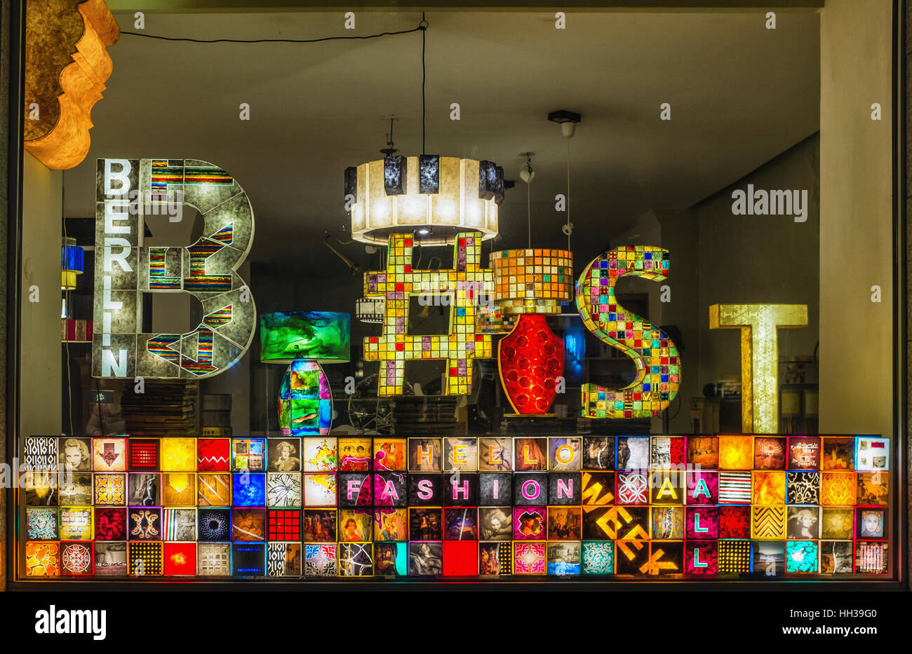 Berlin, Mitte, Germany, 16th January 2017. Berlin Light store welcomes Berlin Fashion Week with colourful display - Stock Image