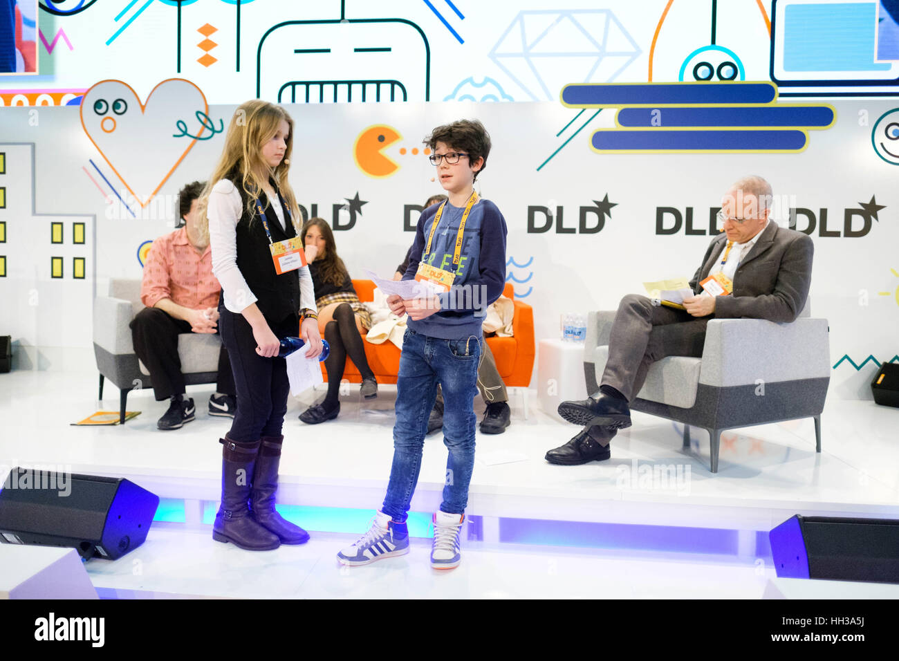 Munich, Germany. 16th January 2017. JAMIAN JULIANO-VILLANI and BILLY GRANT during he DLD17 (Digital-Life-Design) Stock Photo