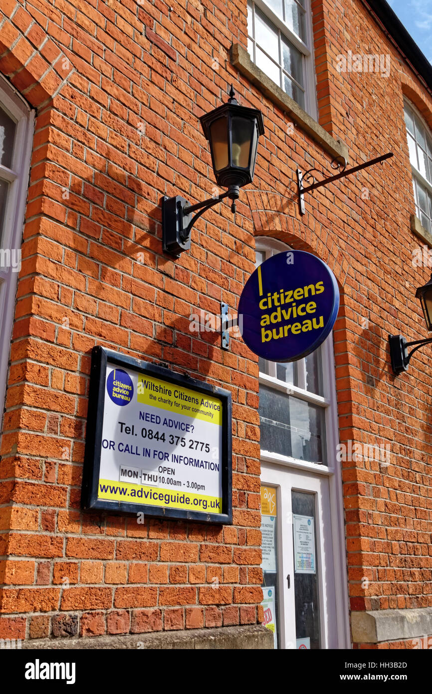 The Wiltshire Citizens Advice Bureau in Mill Street, Trowbridge, Wiltshire, United Kingdom. - Stock Image