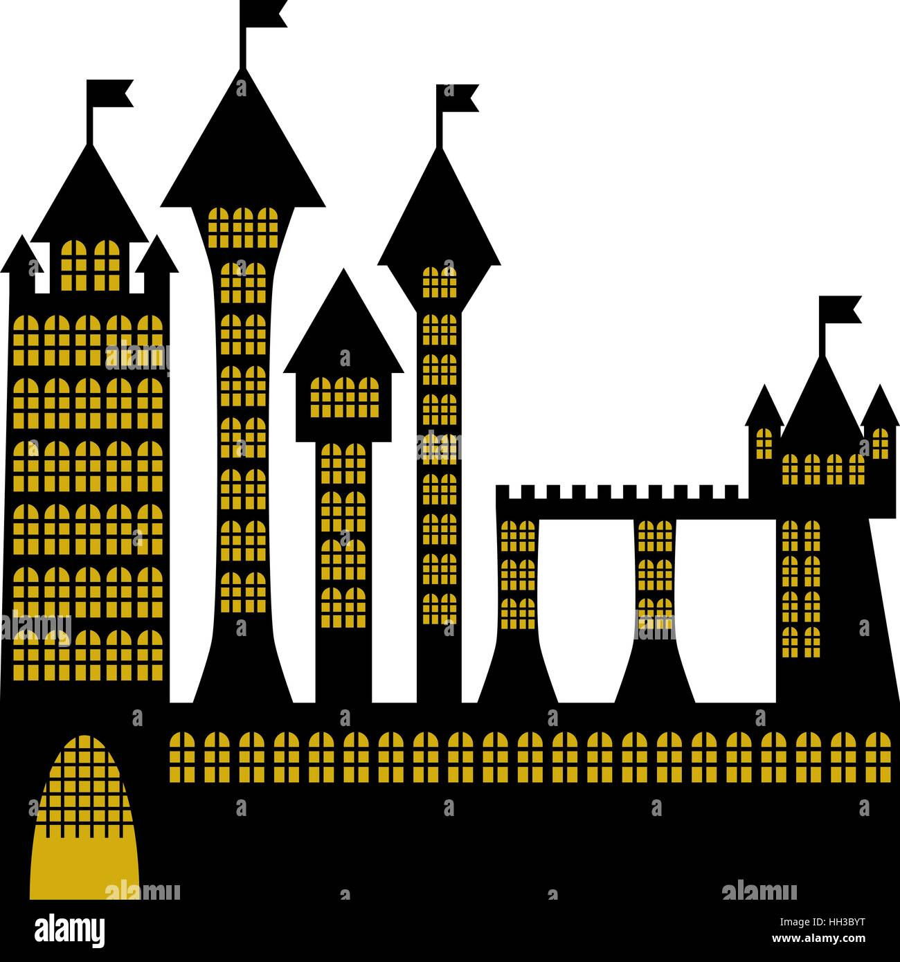 isolated vector ancient gothic castle black silhouette - Stock Vector