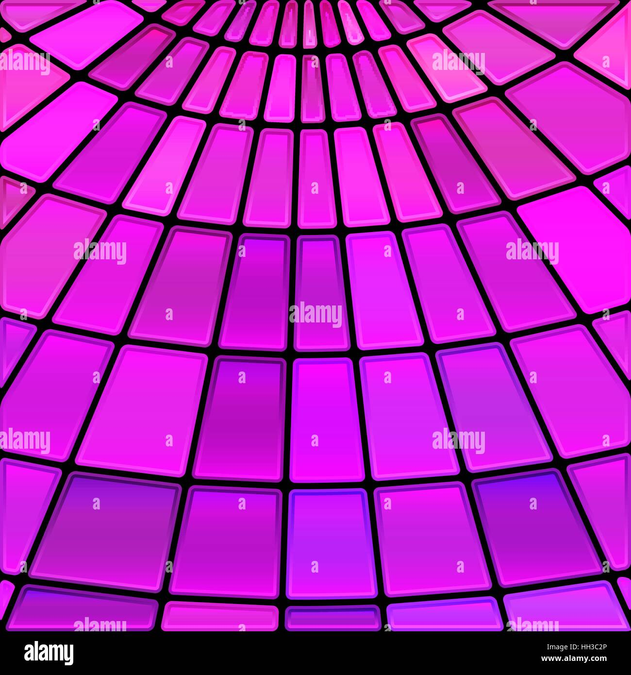 abstract vector stained-glass mosaic background - purple and magenta - Stock Image