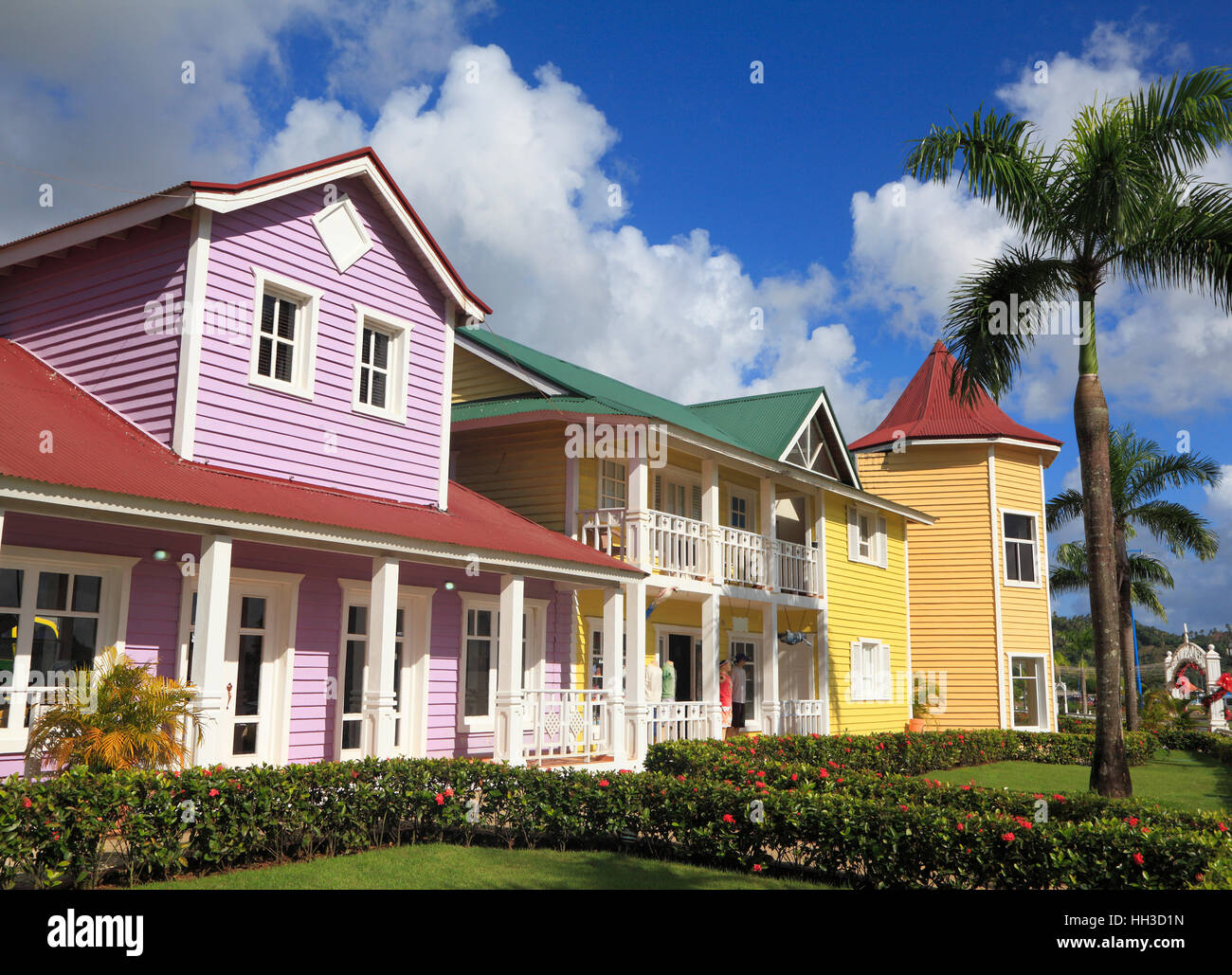 The wooden houses painted in Caribbean bright colors in Samana, Dominican Republic - Stock Image