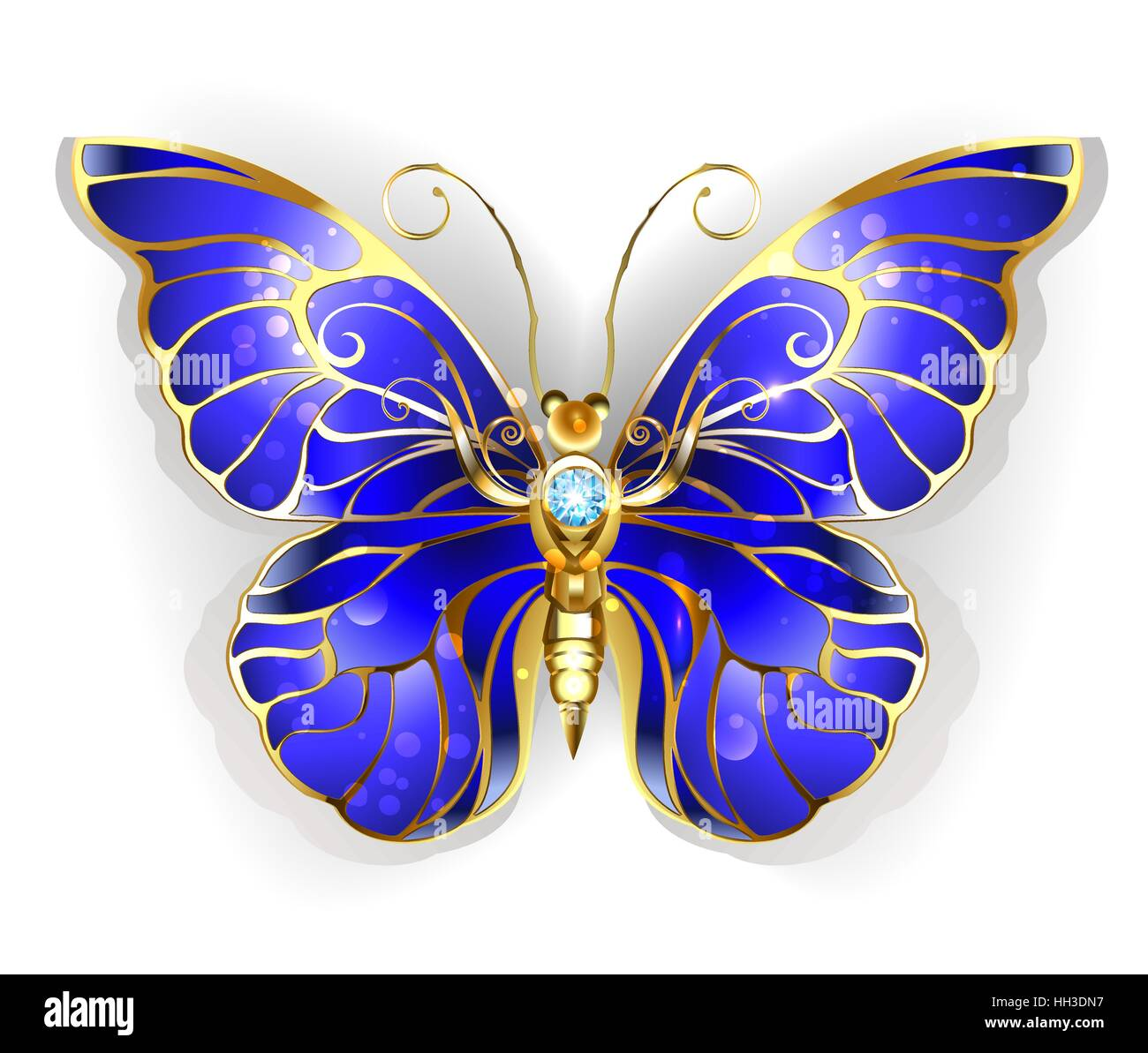 Luxury Jewelry gold butterfly with dark blue sapphire wings on a