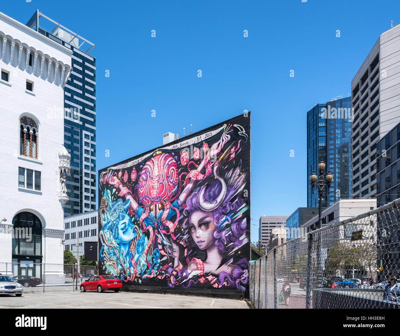 Street art in San Francisco, California, United States of America, North America Stock Photo
