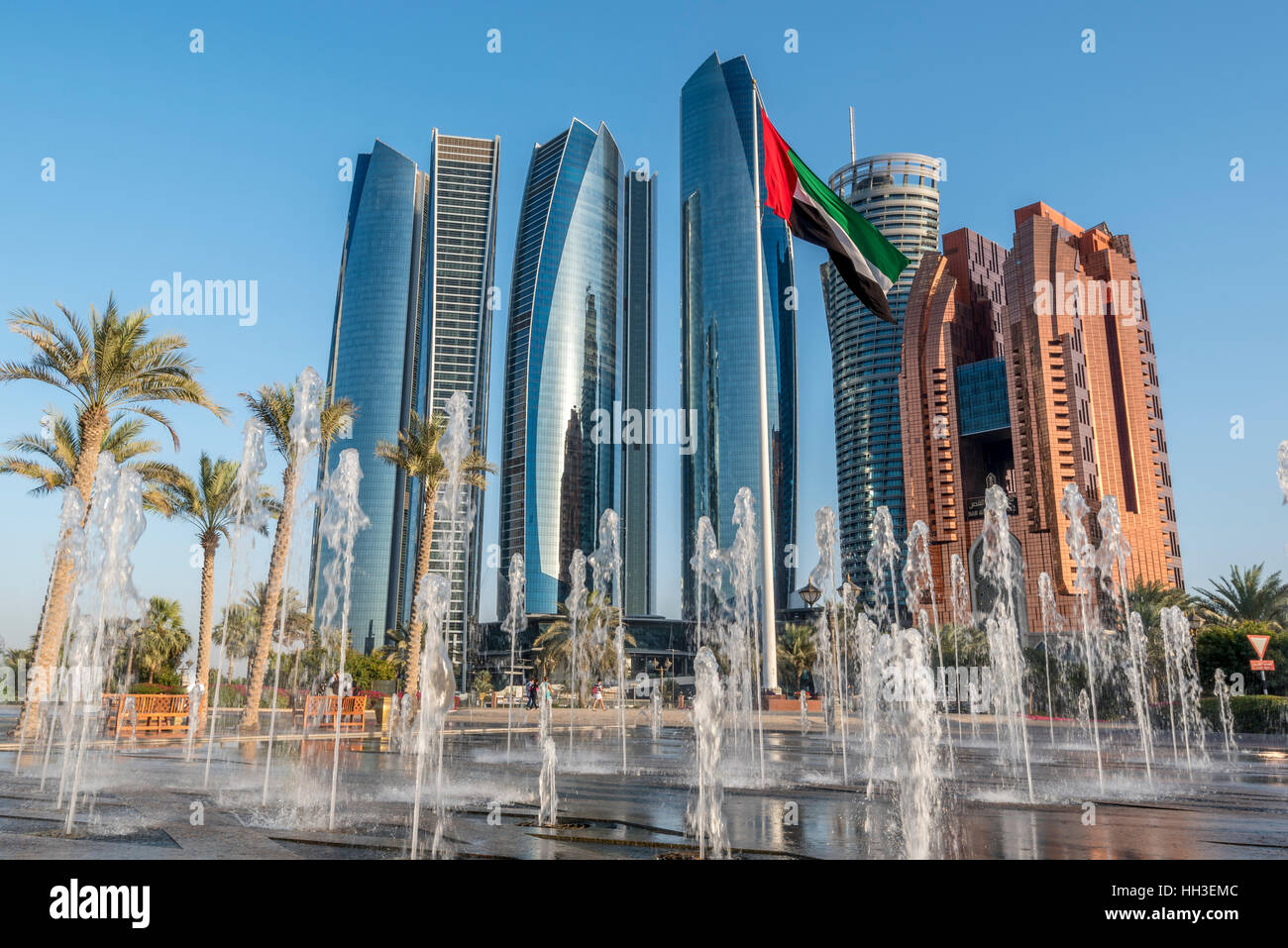 Modern Buildings Part - 35: Modern Buildings On The Corniche In Abu Dhabi With Fountains And National  Flag