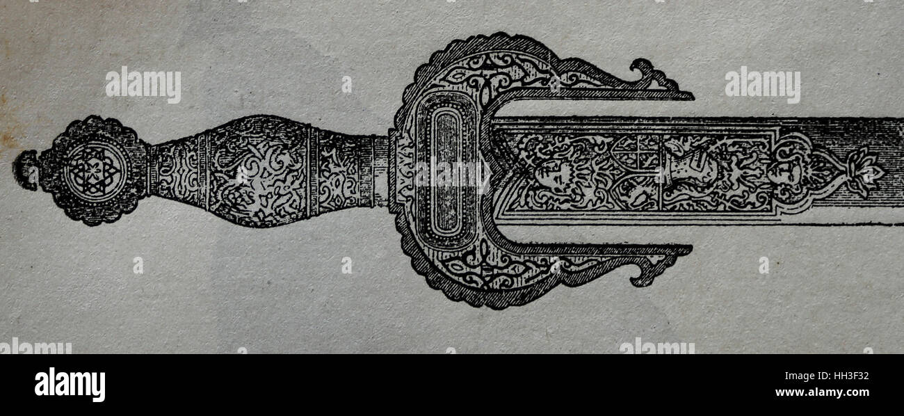 Sword of John of Austria (1547-1578). Military leader in the service of Philip II of Spain. Engraving, by History - Stock Image