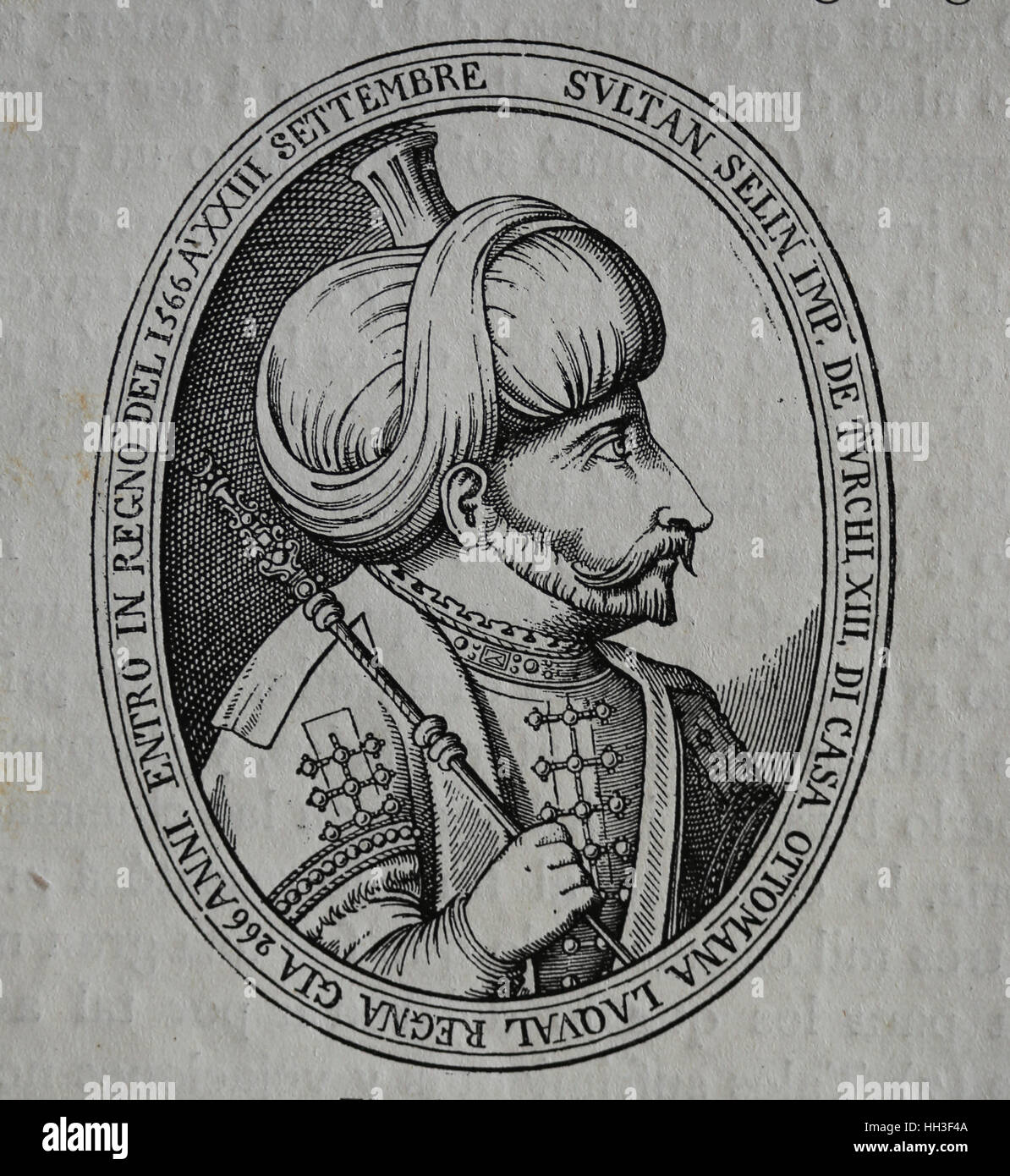 Selim II (1524-1574). 11th Ottoman Sultan. Portrait. Engraving by History  of Philip II, 1884.