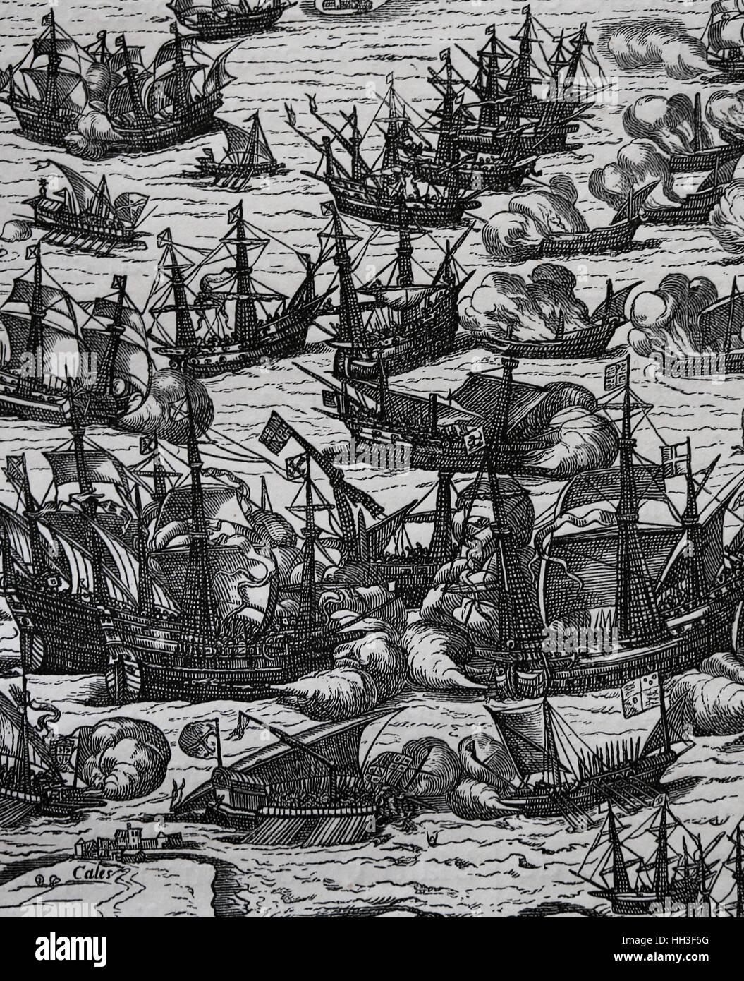 Spanish Armada. Spanish fleet of 130 ships with the purpose of invaded England. Engraving copy of an original of - Stock Image