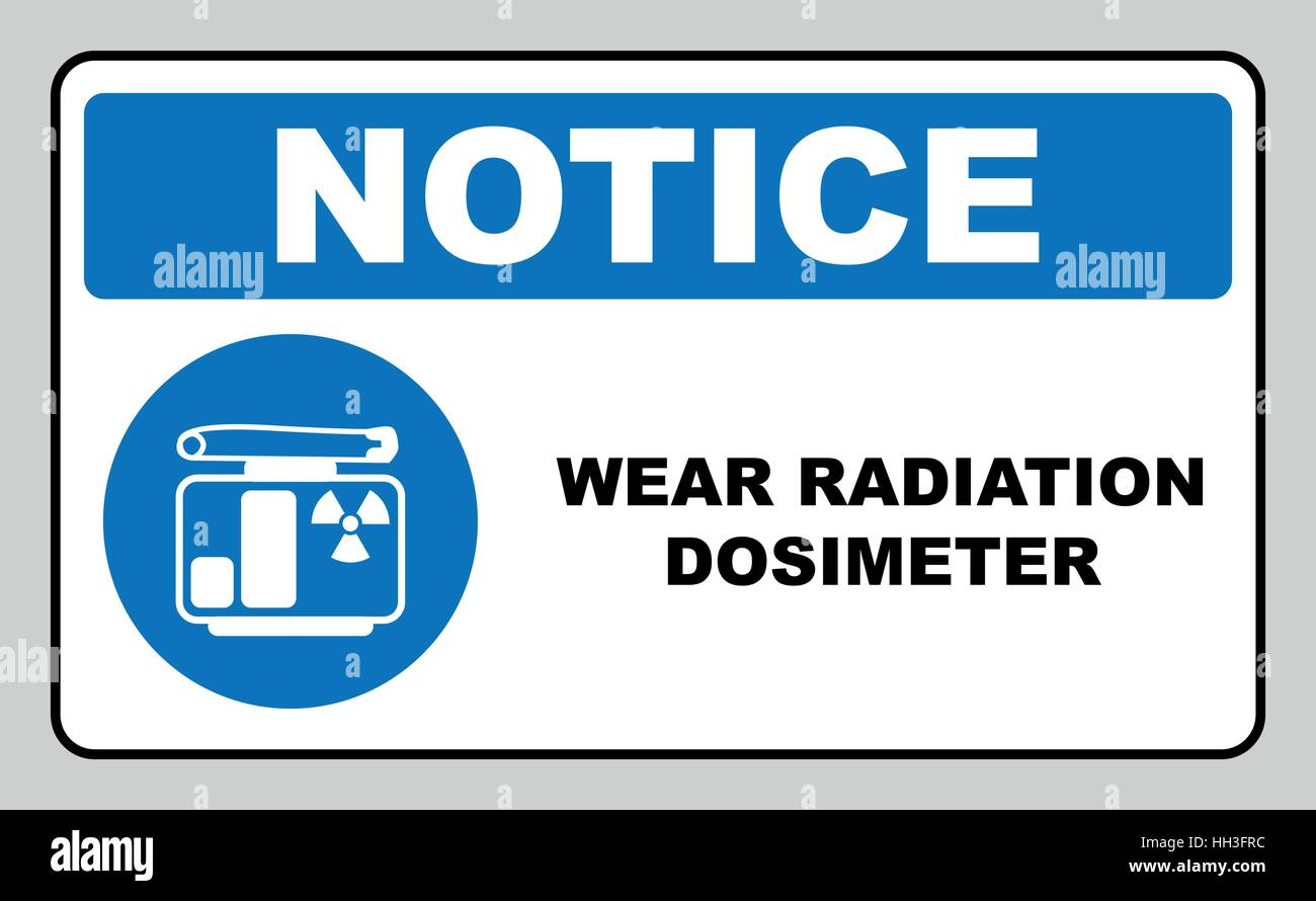 Wear your radiation dosimeter sign. Information mandatory symbol in blue circle isolated on white. Vector illustration. - Stock Vector
