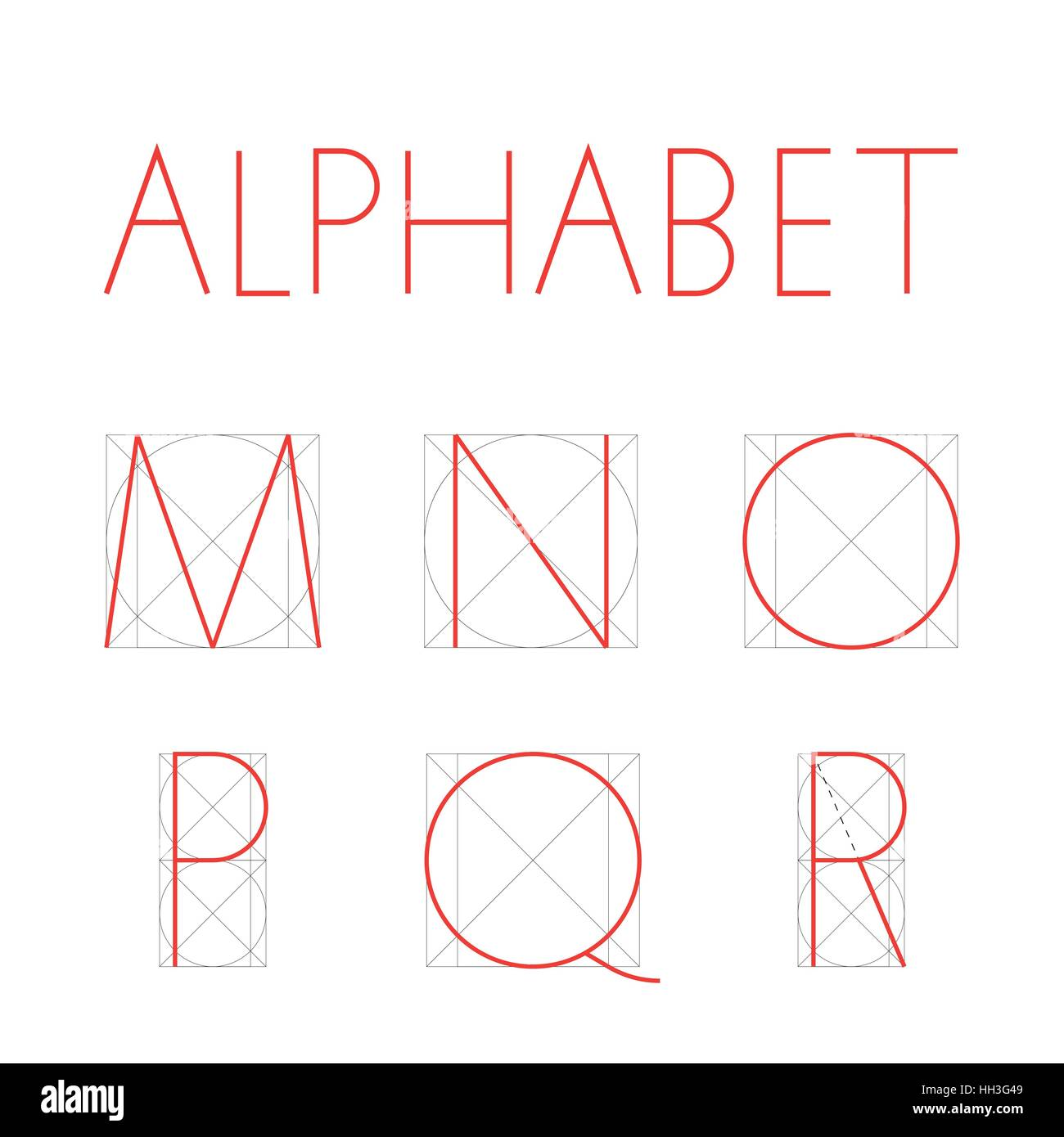 Vector Geometric Font Construction Of Letters Alphabet Red Letter