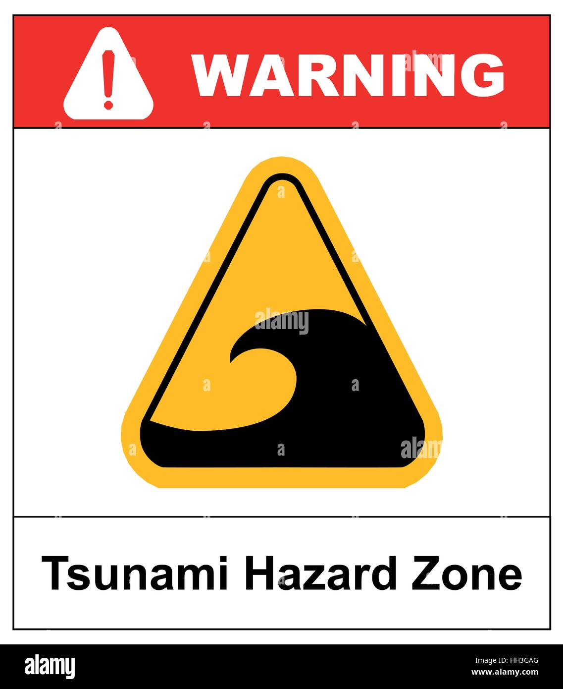 Tsunami hazard zone sign. In case of earthouake go to high ground or inland. Vector warning sticker label with wave - Stock Vector