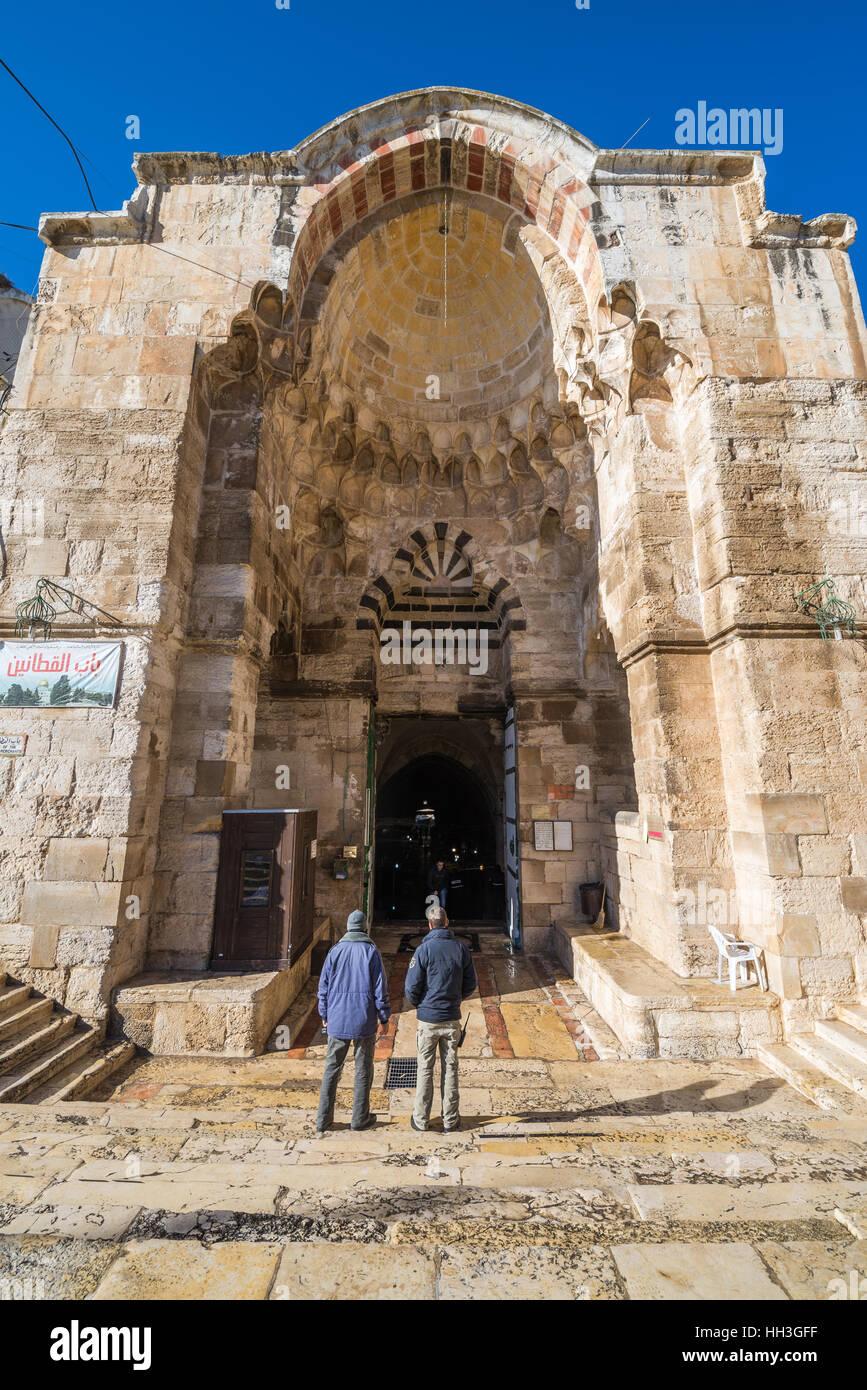 The Cotton Merchant's Gate (Bab al-Qattanin), the Temple Mount , Muslim quarter, Jerusalem, Israel - Stock Image