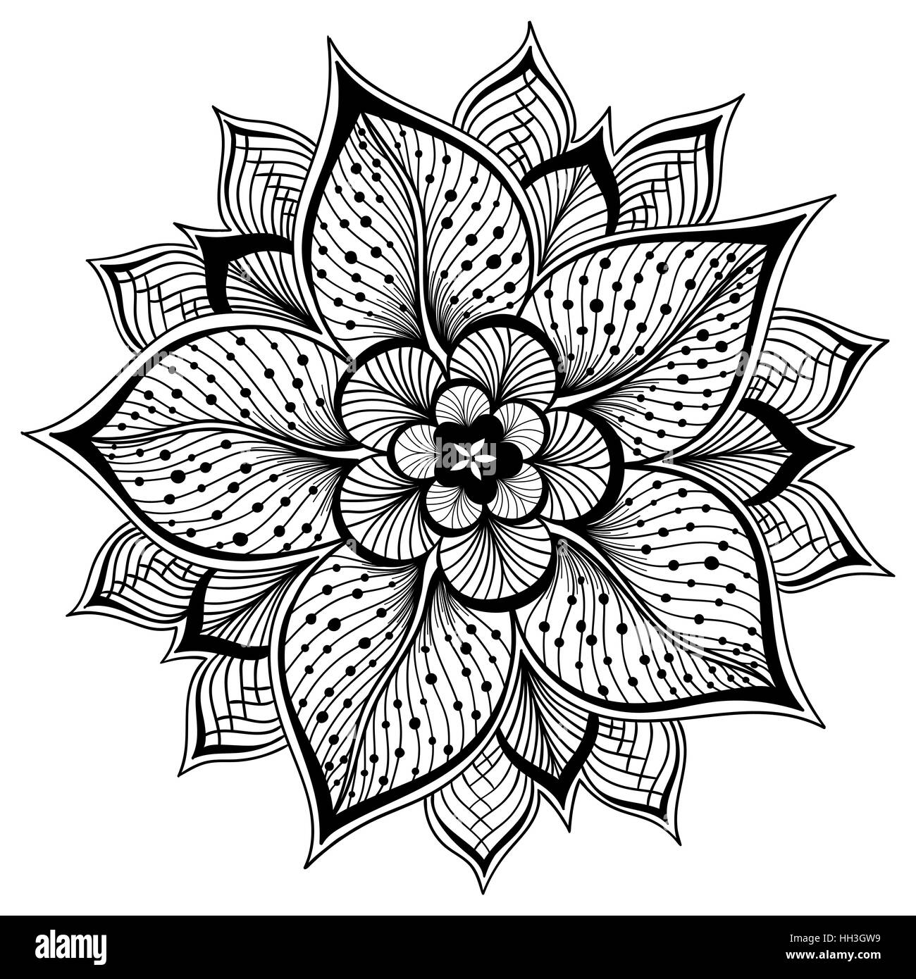 Vector Illustration Of Outline Mandala For Coloring Book Decorative Round Ornament Anti Stress Therapy Pattern Weave Design Element Yoga Logo Med