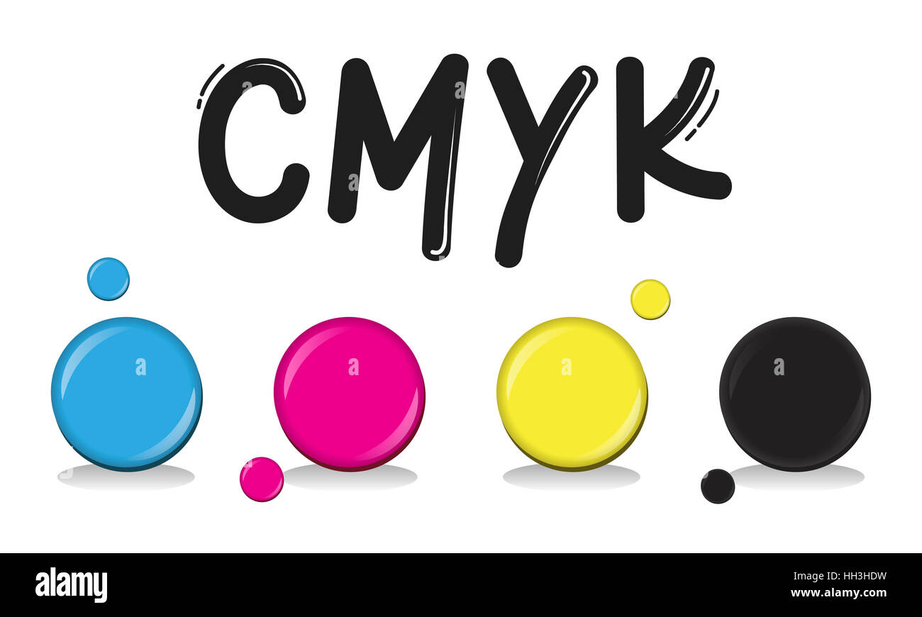 CMYK Creative Design Color Ink Mixture Printing Concept - Stock Image