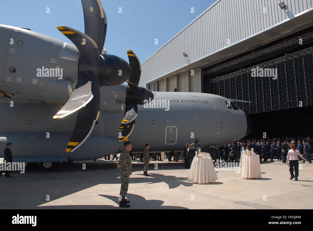 Turkish Air Forces' Airbus A400M Atlas military transport aircraft in Erkilet Air Force Base during the inaugural - Stock Image