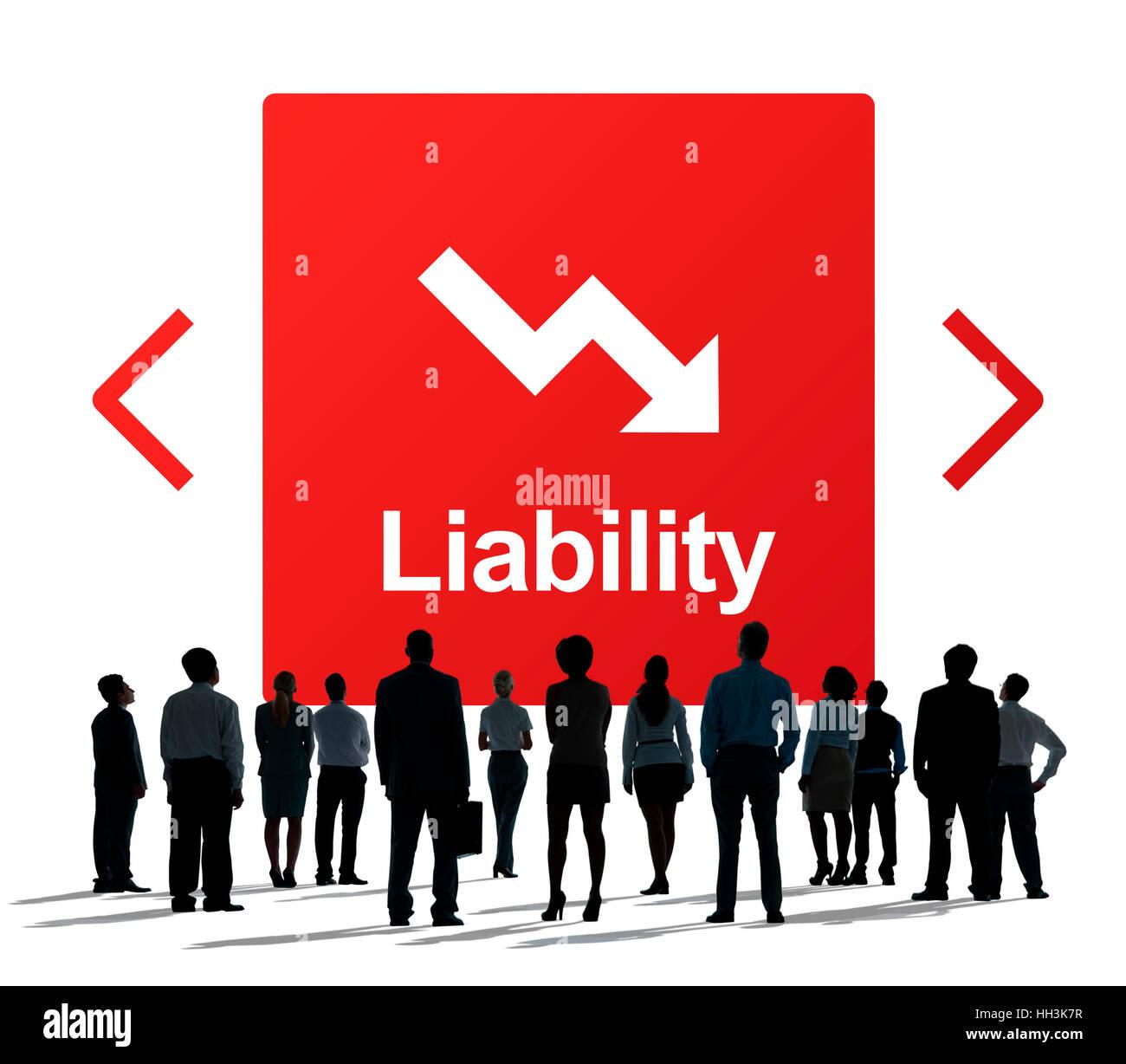 Falling Arrow Financial Icon Word Concept Stock Photo