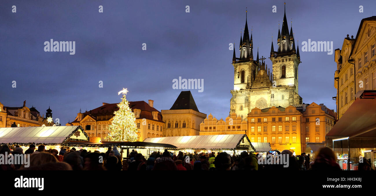 The old Town Square in Prague with Christmas tree, stands and decorated for holidays. - Stock Image
