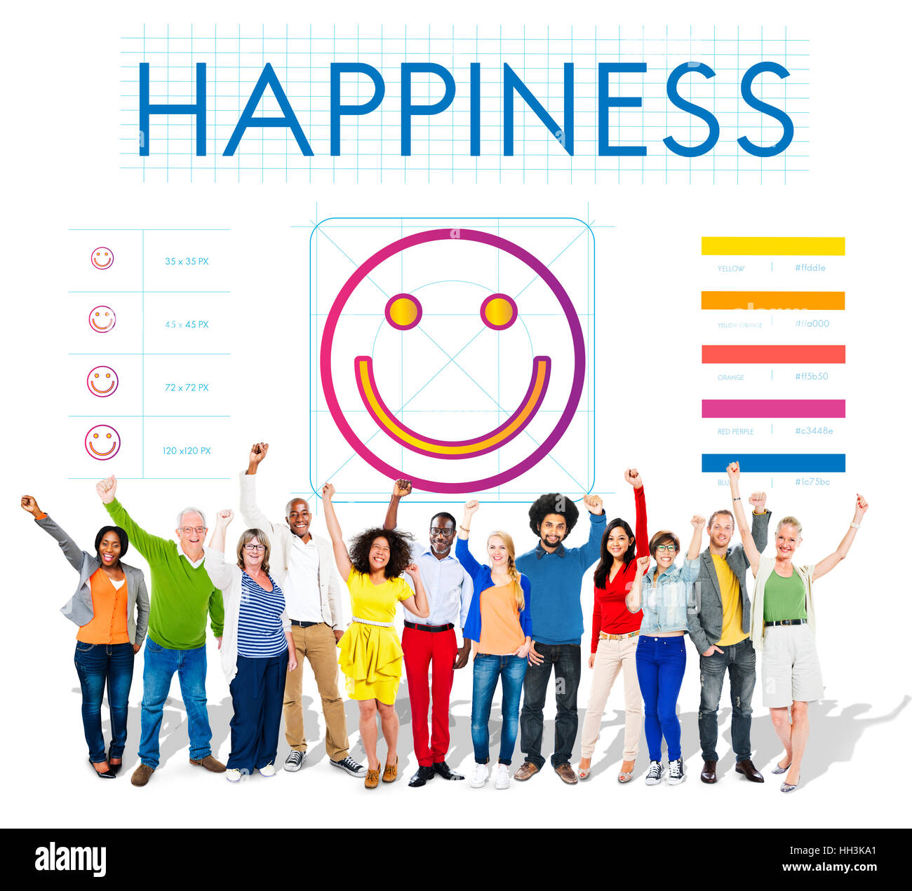 Positive Thinking Happiness Lifestyle Concept - Stock Image