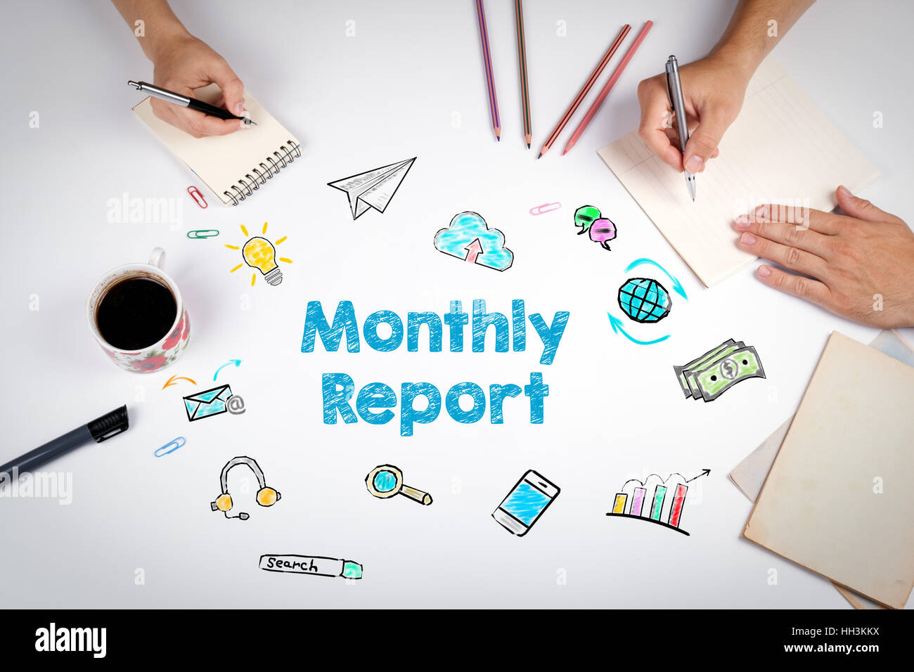 Monthly Report. The meeting at the white office table. - Stock Image