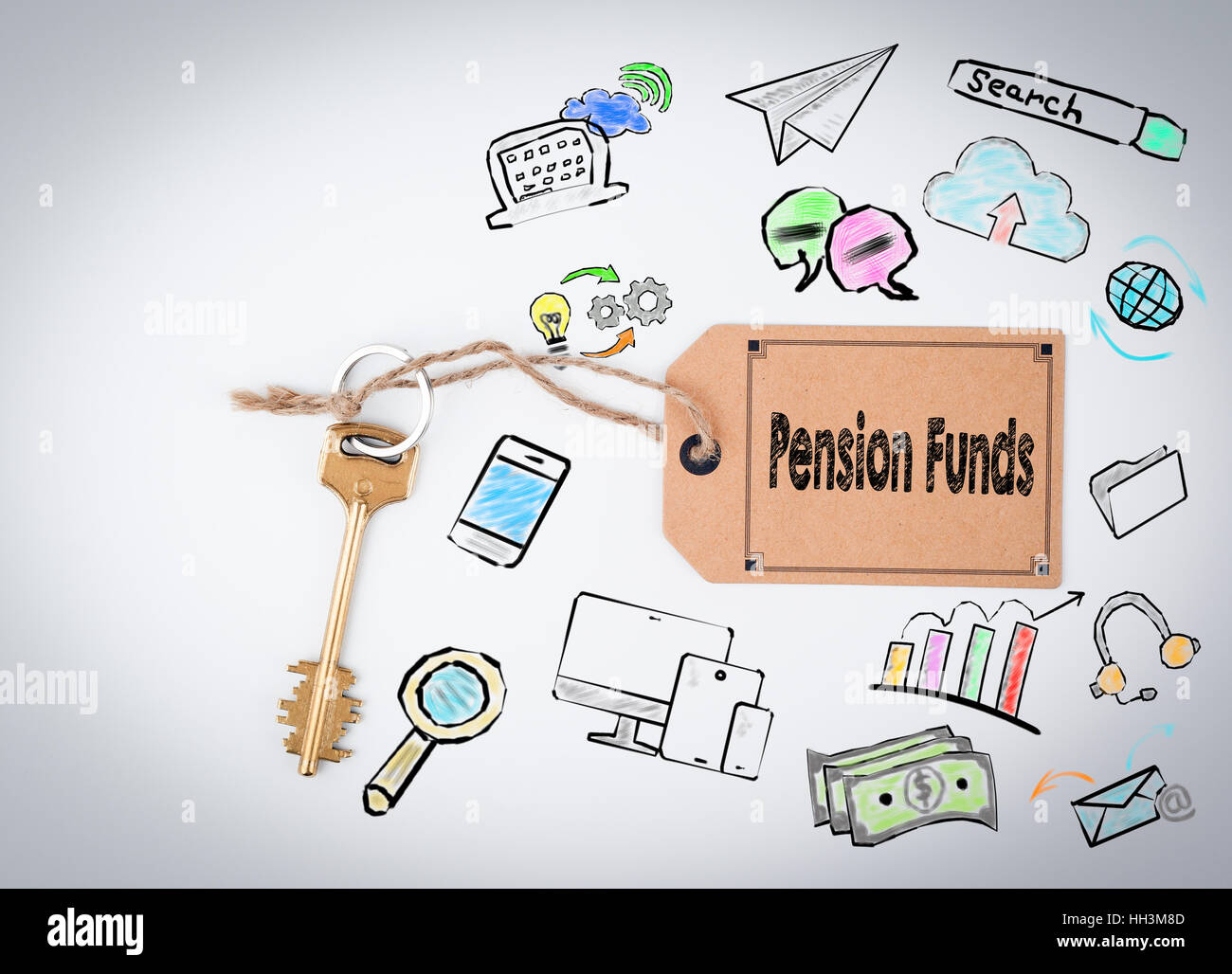 Pension funds concept office environment - Stock Image