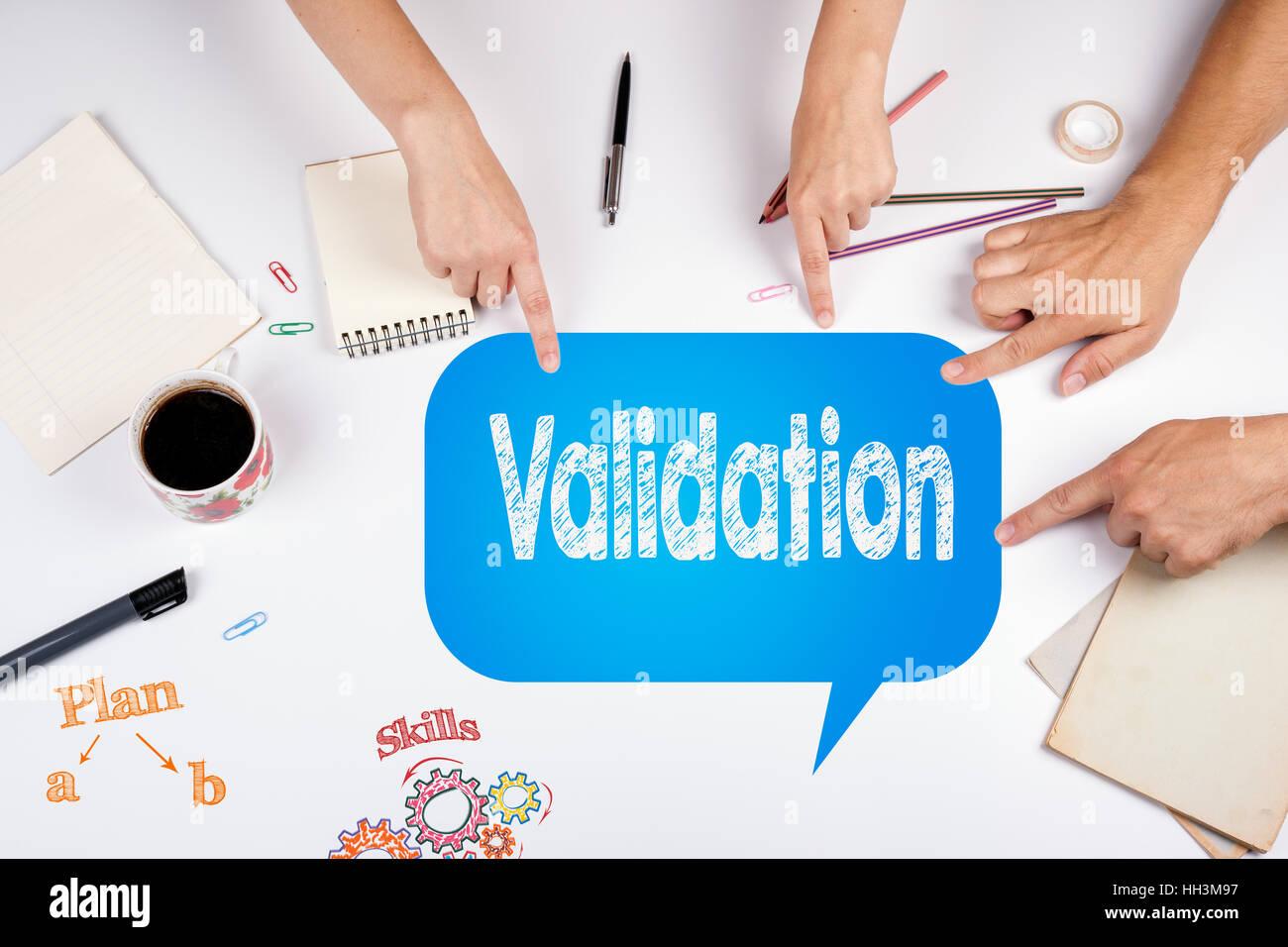 Validation concept office desk - Stock Image
