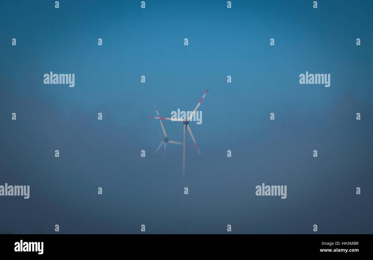 Wind turbines in Saxony-Anhalt, Germany. - Stock Image