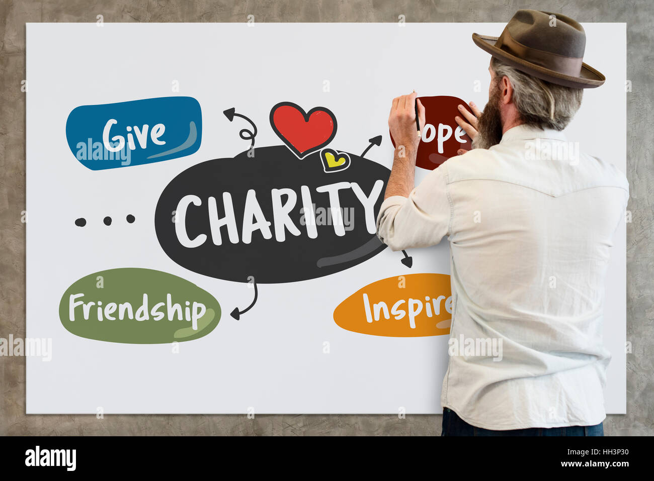 Charity Give Friendship Hope Inspire Aid Donate Concept Stock Photo