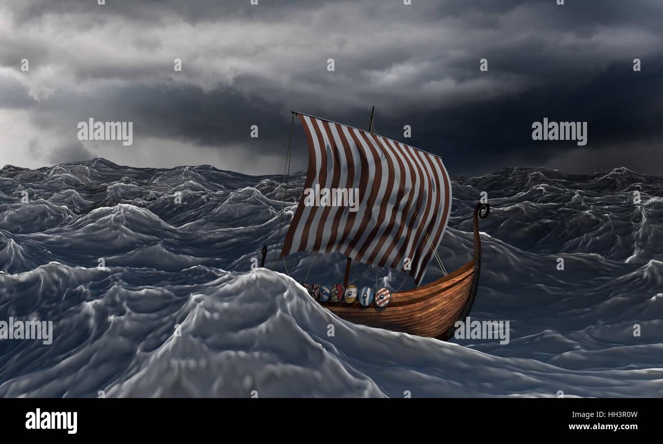 Viking ship on the dramatic wavy sea in the storm. Drakkar ...Viking Ship Storm