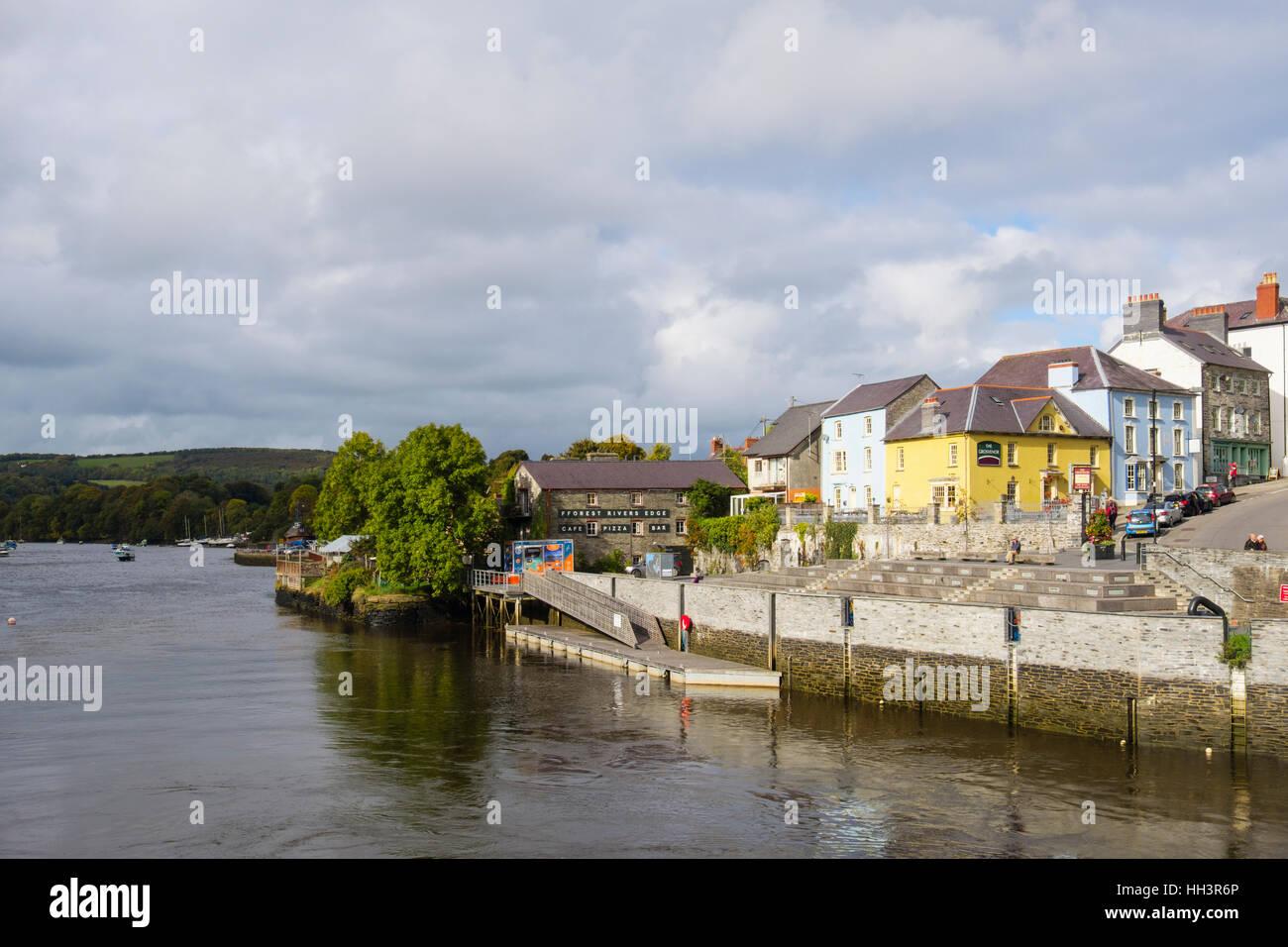 The old port quay on Afon Teifi River. Cardigan (Aberteifi), Ceredigion, Wales, UK, Britain Stock Photo