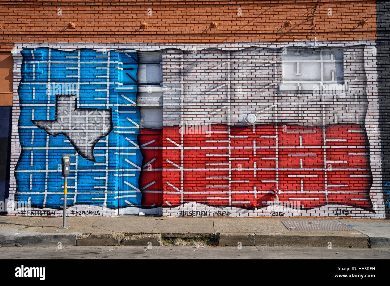 December 25, 2016 Dallas, Texas: the Deep Ellum area of the city is known for extensive graffiti arts painted on - Stock Image