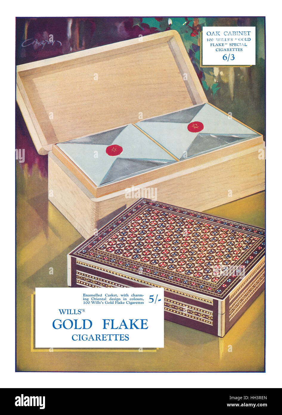 1928 British advertisement for Wills's Gold Flake Cigarettes - Stock Image