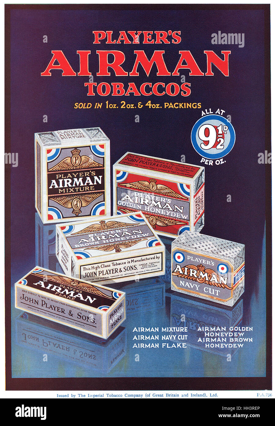1930 British advertisement for Player's Airman Cigarettes - Stock Image