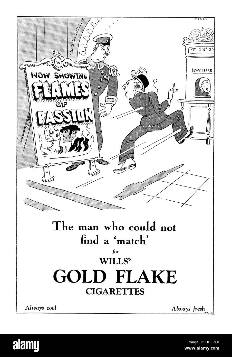 1929 British advertisement for Wills's Gold Flake Cigarettes - Stock Image