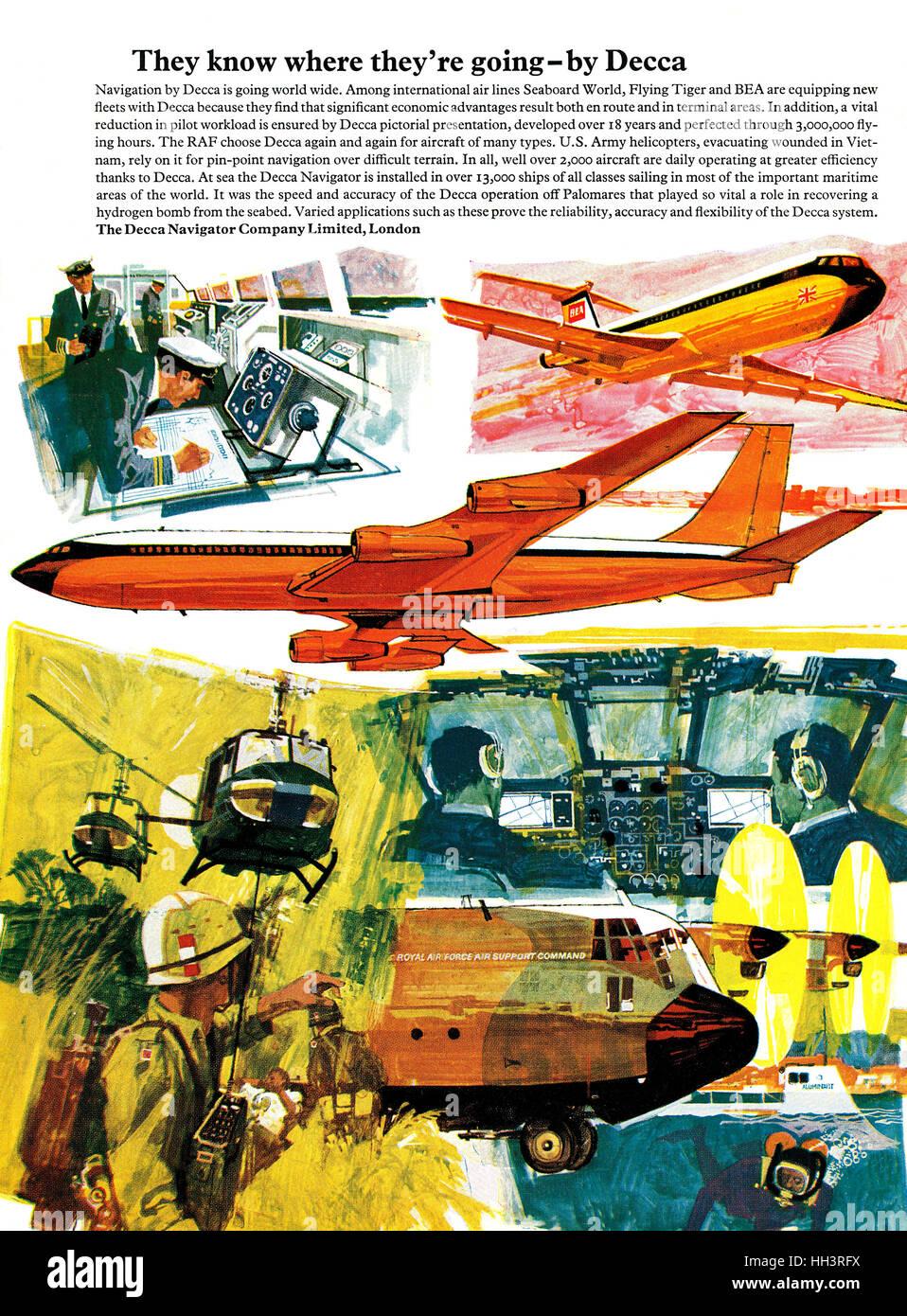1968 British advertisement for the Decca Navigator - Stock Image