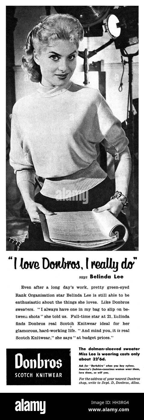 1956 British advertisement for Donbros Scotch Knitwear, featuring actress Belinda Lee - Stock Image